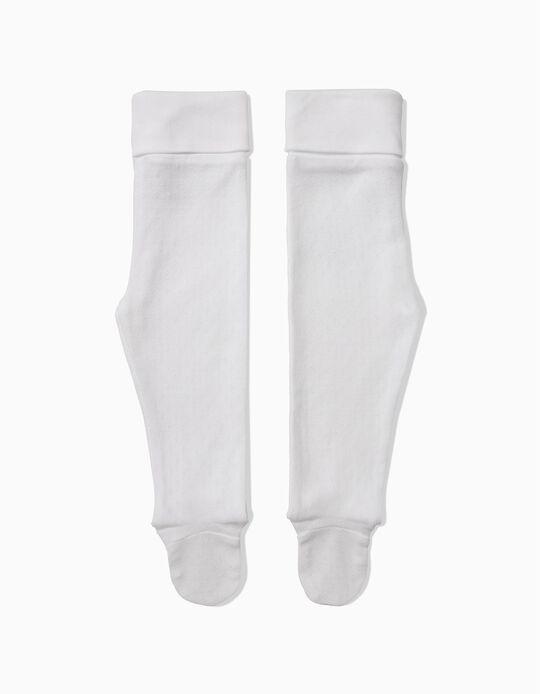 Pack 2 Calças com Pés para Recém-Nascido com Textura, Branco