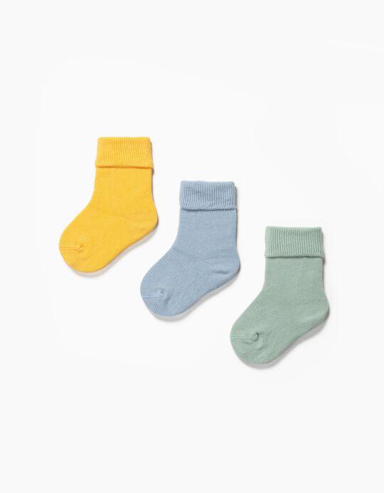 3 Pares de Meias com Dobra para Bebé, Multicolor