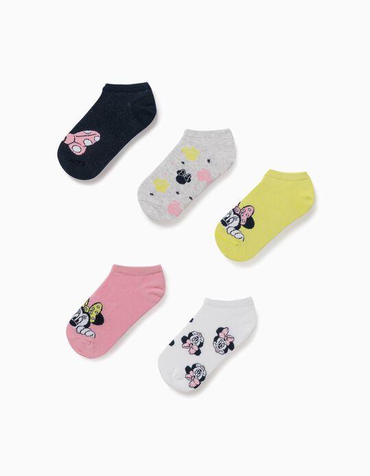 5 Pares de Calcetines Cortos para Niña 'Minnie', Multicolor