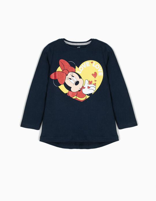 T-shirt Manga Comprida Minnie Love Azul
