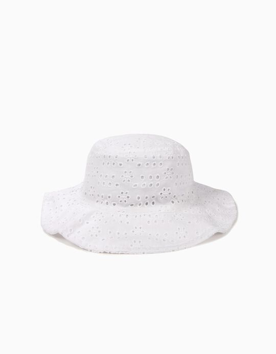 Sombrero para Niña con Bordado Inglés, Blanco