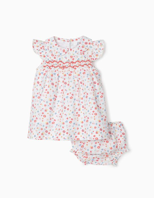 Dress and Bloomers for Newborn Girls 'Flowers', White