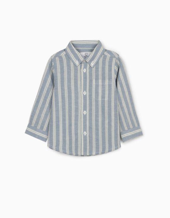 Linen Shirt for Baby Boys, White/Blue