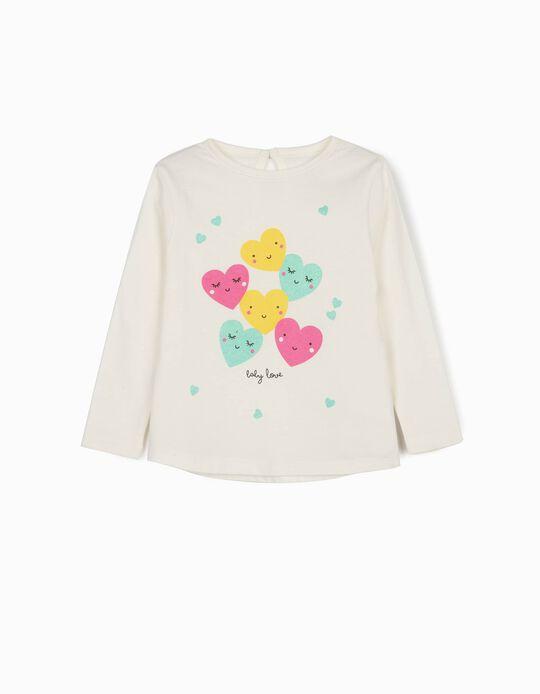 T-shirt Manga Comprida 'Baby Love', Branco