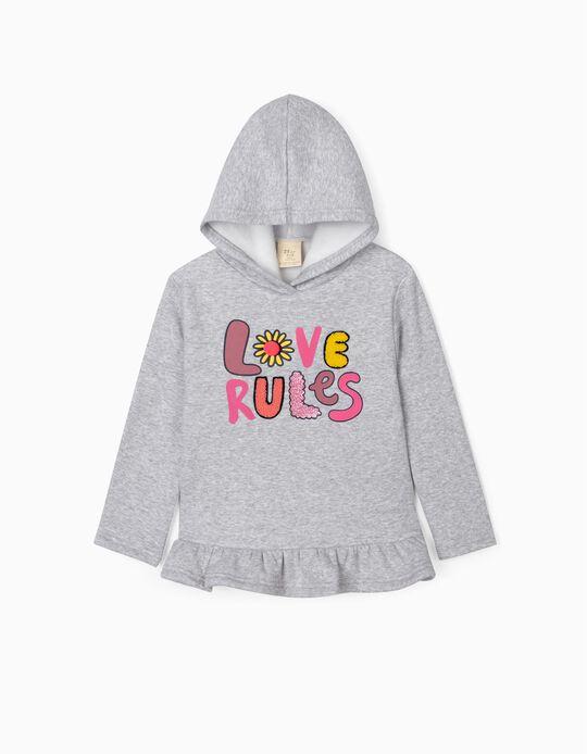 Sweatshirt for Girls, 'Love Rules', Grey