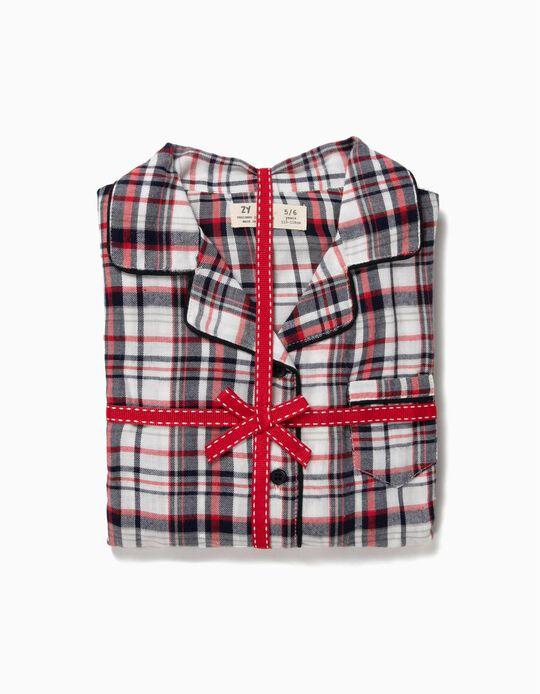 Pijama de Manga Comprida e Calças Xadrez