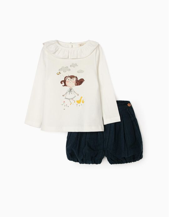 Camiseta de Manga Larga + Short para Bebé Niña, Blanco/Azul