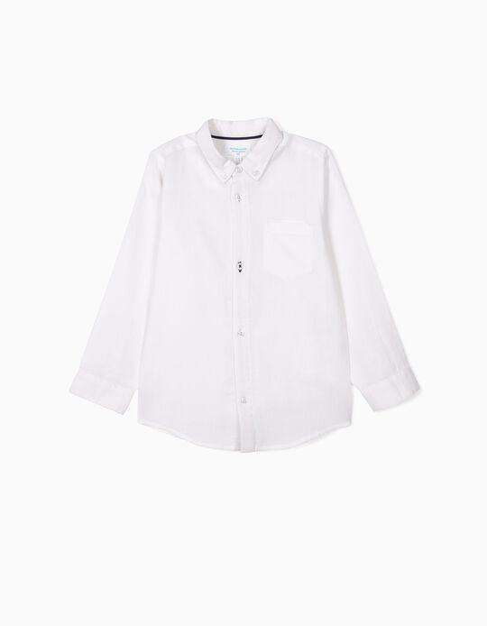 Camisa con Relieve para Niño 'B&S', Blanca