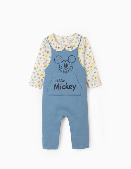 Combinaison et body nouveau-né 'Hello Mickey', bleu/blanc