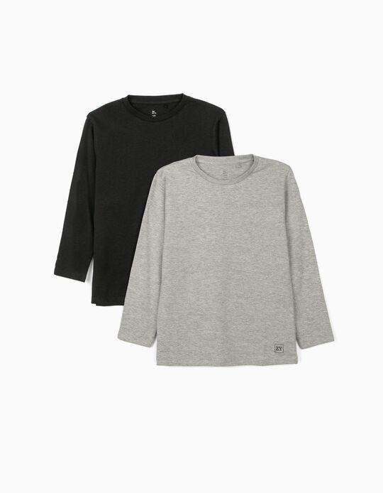2 T-shirts manches longues garçon, noir/gris