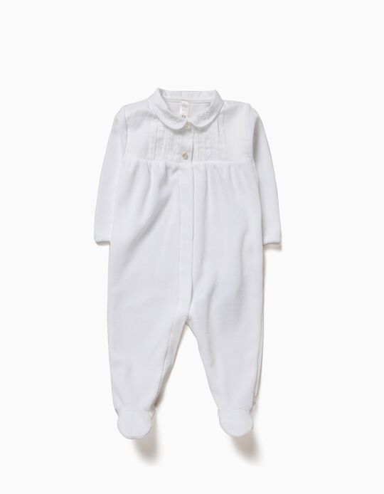 Velvet Sleepsuit for Newborn, White