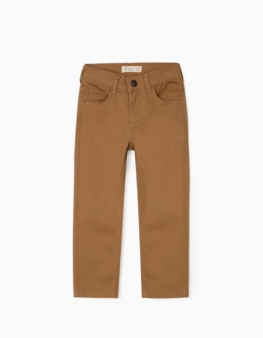 Twill Trousers for Boys, Camel