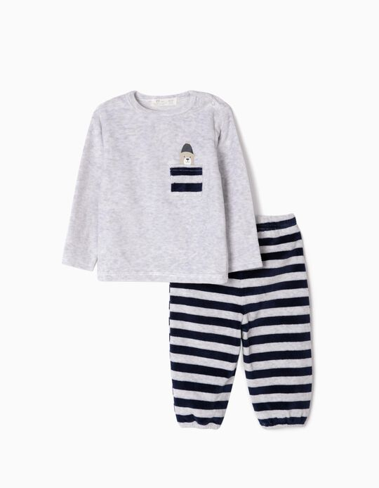 Pijama Aterciopelado para Bebé Niño 'Cute Bear', Gris/Azul Oscuro