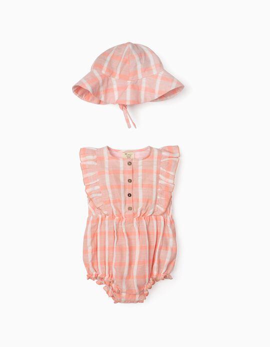 Macacão e Chapéu com Textura para Bebé Menina, Rosa