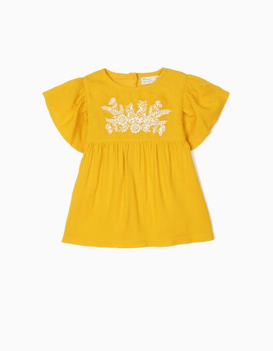 Blusa para Bebé Niña con Bordados, Amarillo