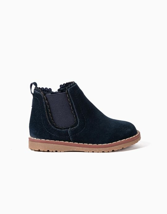 Suede Ankle Boots for Baby Girls, Dark Blue