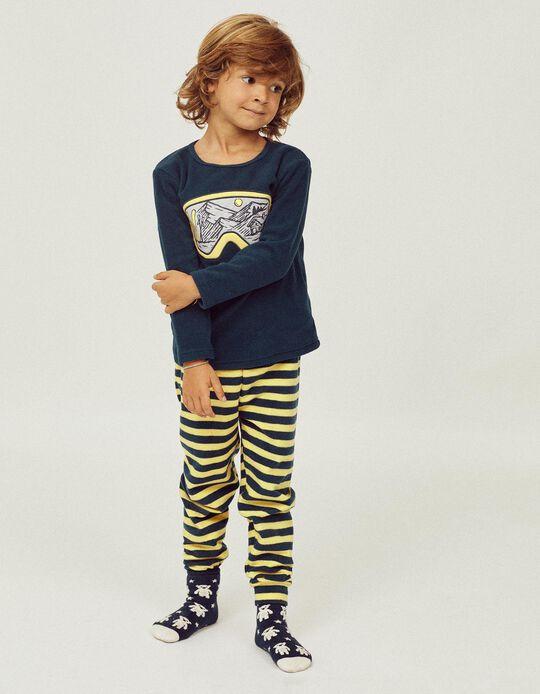 2 Pijamas Polares para Niño 'Ski Club', Azul Oscuro/Amarillo