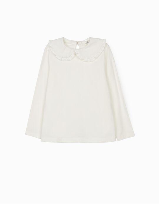 T-shirt Manga Comprida para Menina, Branco