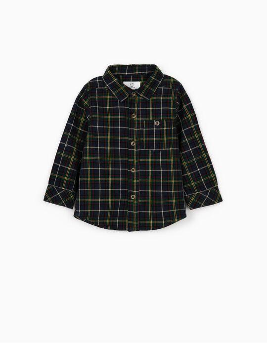 Camisa de Manga Larga Ajedrez para Bebé Niño, Azul Oscuro/Verde