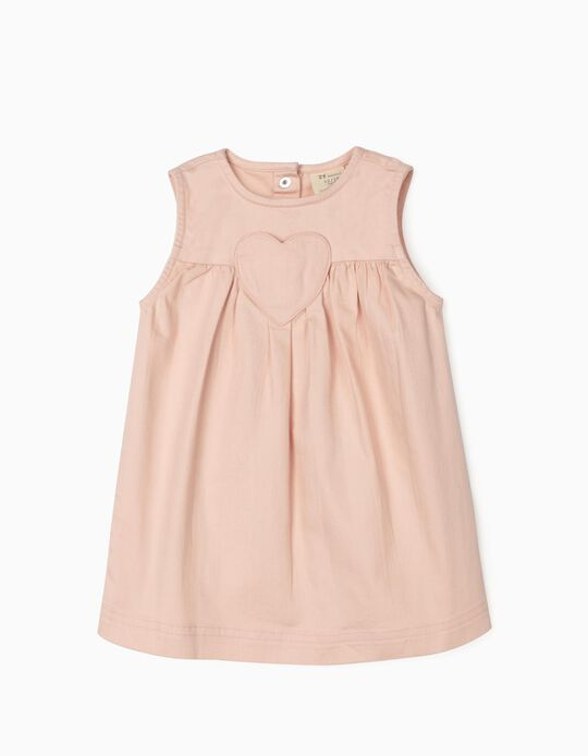 Twill Dress for Baby Girls, 'Heart' Light Pink