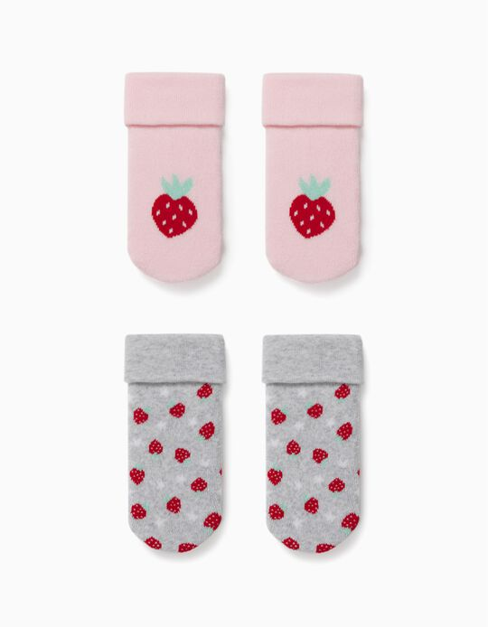 2 Pairs of Non-slip Socks for Baby Girls, 'Strawberry', Pink/Grey