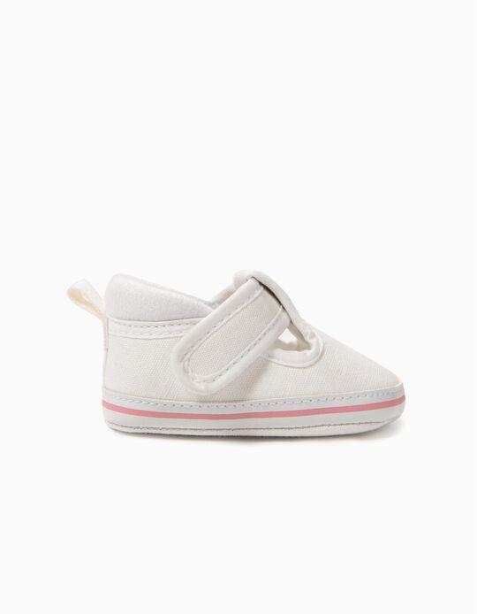 Zapatos para Recién Nacida con Cierre Autoadherente, Blancos