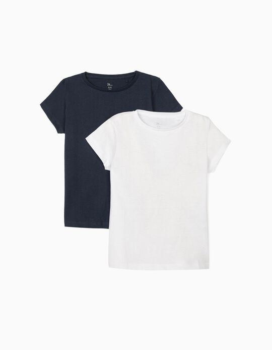 2 T-shirts for Girls, Dark Blue/White