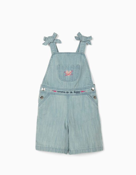 Short Denim Dungarees for Girls 'Happy', Light Blue
