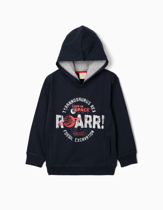 Sweatshirt com Capuz para Menino 'Roarr!', Azul Escuro