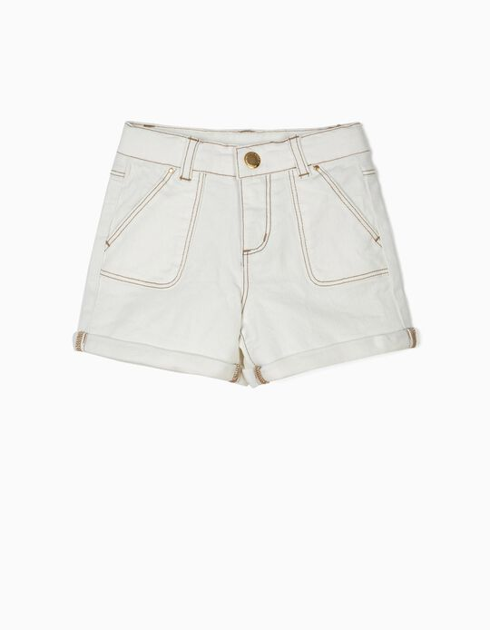Twill Shorts for Girls, White