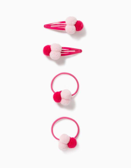 2 Bobbles + 2 Hair Clips for Girls, 'Pompoms', Pink