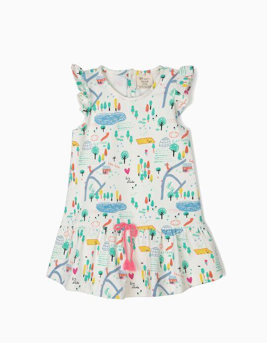 Vestido Estampado para Bebé Niña 'Playground', Blanco