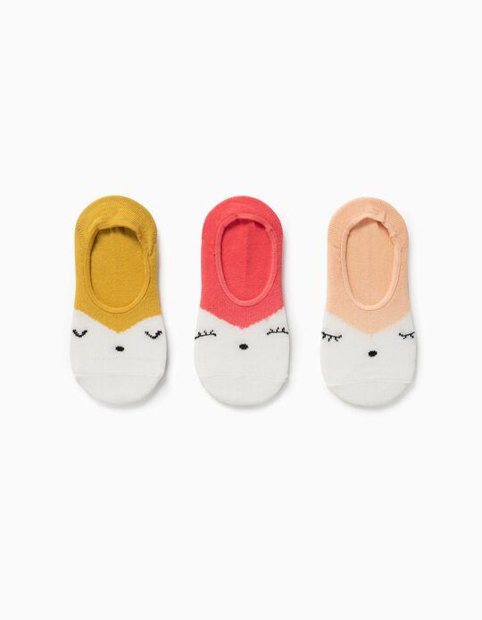 3 paires de chaussettes invisibles fille, multicolore