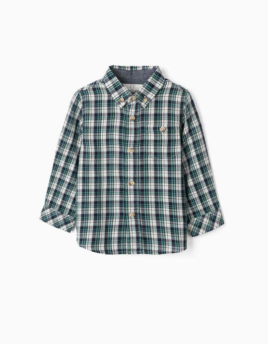 Camisa Ajedrezada para Niño, Azul/Verde