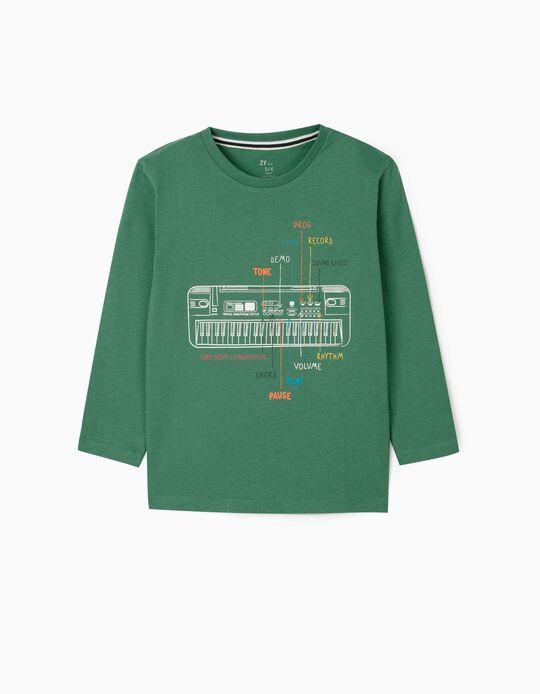T-shirt manches longues garçon 'Keyboard', vert
