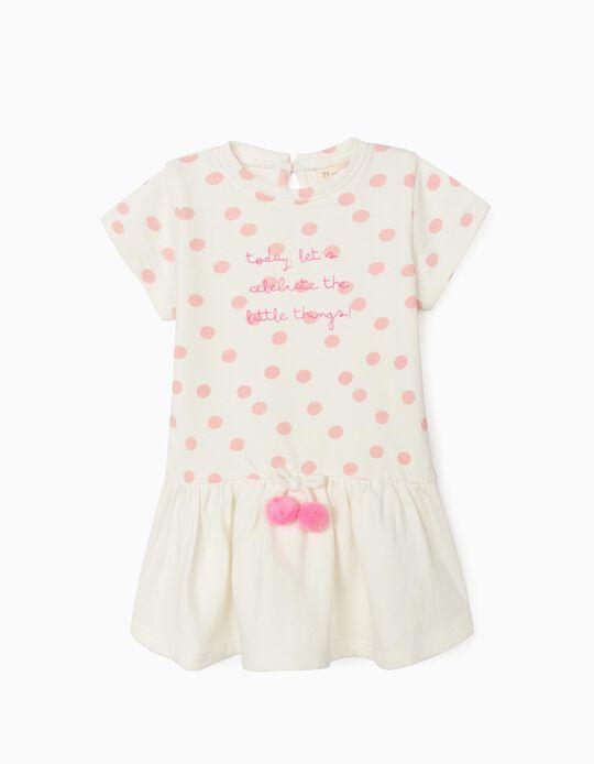 Vestido para Bebé Menina 'Little Things', Branco/Rosa