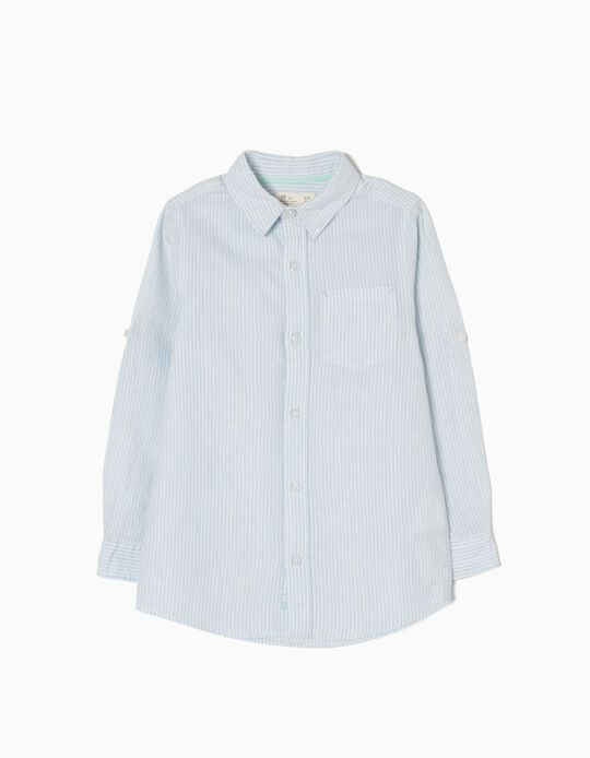 Camisa de Lino a Rayas Azules