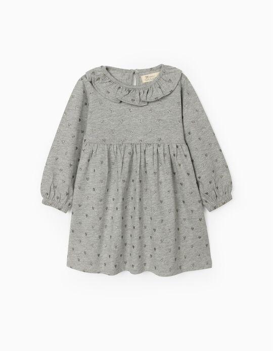 Jersey Knit Dress for Baby Girls, 'Stars', Grey