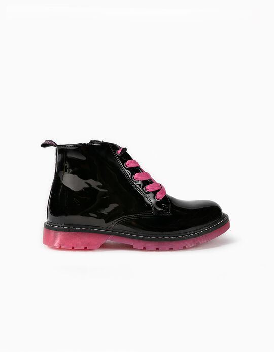 Patent Biker Boots for Girls 'ZY Cosmic', Black