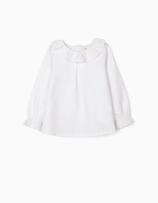 Blouse with Ruffles for Baby Girls, White