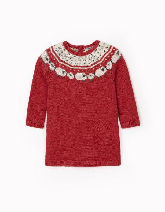 Vestido de Punto para Bebé Niña 'Sheep', Rojo