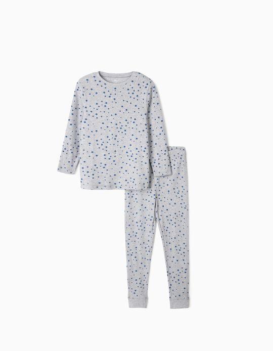 Rib Knit Pyjamas for Boys, 'Stars', Grey/Blue
