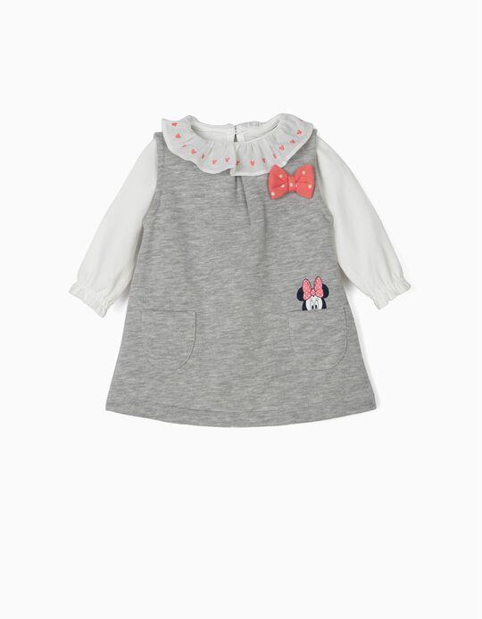 Vestido e Body para Recém-Nascida 'Minnie', Branco e Cinza