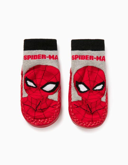 Chaussons-Chaussettes Garçon 'Spiderman', Gris/Rouge