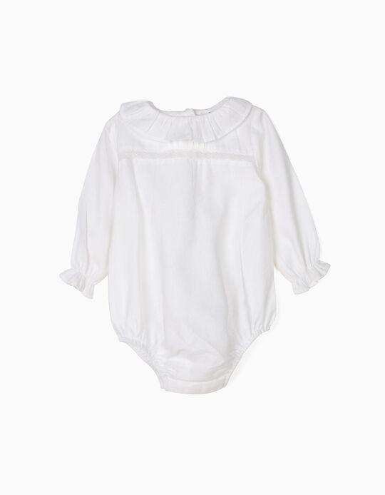 Body Blusa para Recién Nacida con Volantes y Encaje, Blanco
