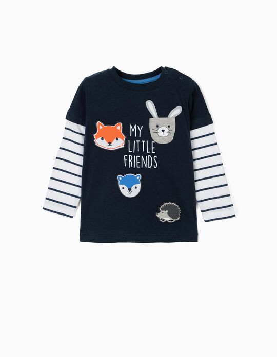 T-shirt Manga Comprida para Bebé Menino 'Little Friends', Azul Escuro