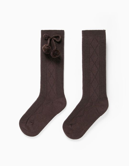Knee High Socks with Pompoms for Girls, Brown
