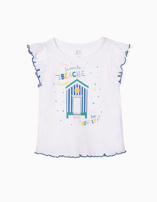 T-shirt para Menina 'Beach House', Branco