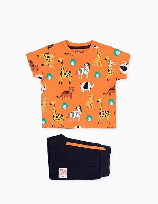 T-shirt e Calções para Bebé Menino LOSAN, Branco/Verde