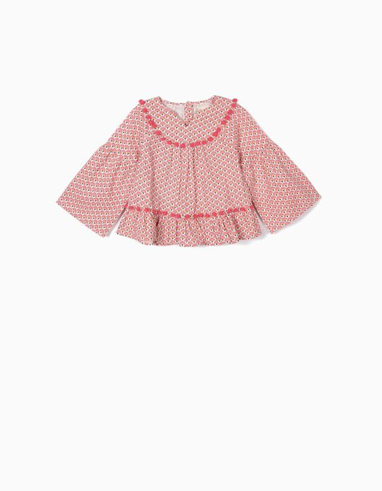 Blouse with Pom Poms for Girls, Pink